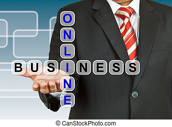 Businessman with wording Online Business