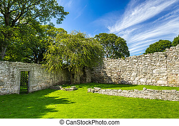 Medieval wall in a park in Scotland