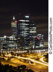 Perth City at Night with Freeway