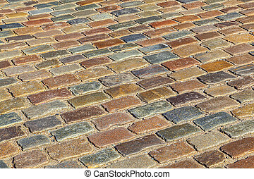 pattern of old cobble stone street
