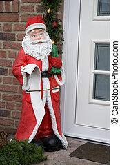 Santa claus - Santa Claus outdoor by the door