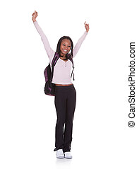 Excited Student Girl Isolated Over White Background
