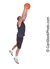 Basketball Sportsman Doing Slam Dank - Portrait Of...