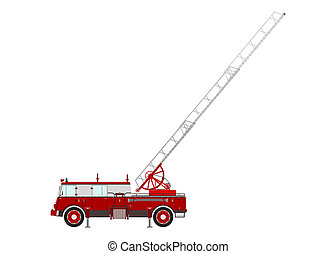 Retro fire truck with a ladder on a white background