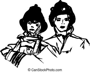 Vector Illustration of 2 Firefighte - Black and white vector...