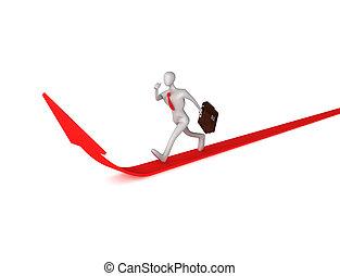 3d man running up to success
