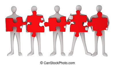 3d persons with puzzles on a white background