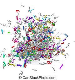 coloré, 3D, nombres, Explosé