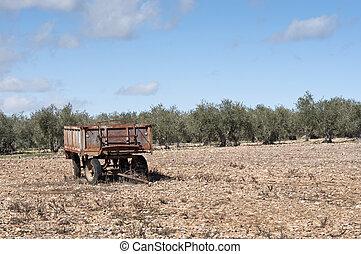 Old farm trailer