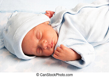 Sweet Newborn Baby - Portrait of a Sweet Newborn Baby Boy...
