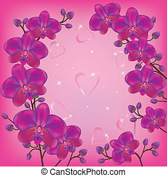 Festive background orchids - Bright festive background with...