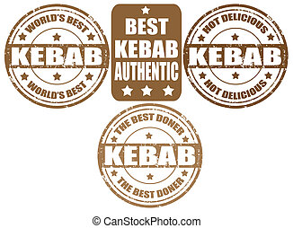 Set of kebab stamps - Set of grunge rubber stamps with word...