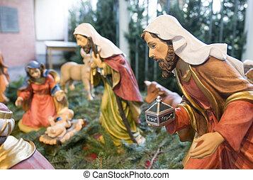 The crib in nativity scene