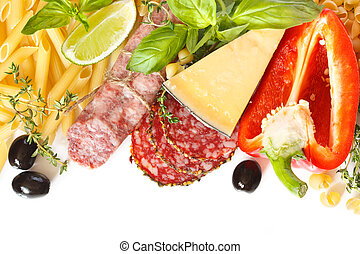 Italian food. Ingredients for cooking on a white background.