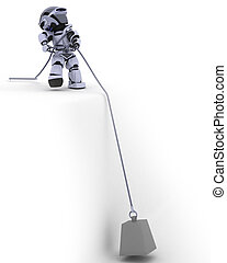 Robot Pulling a weight on a Steel Cable - 3D render of a...