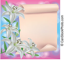 Greeting or invitation card with lily flower and paper
