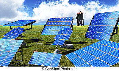 Solar panels on green grass