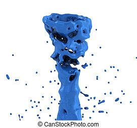 blue liquid splash whirl isolated on white background