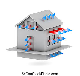 3d house with arrows of heat loss