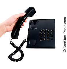 phone ring in human hand on white using telephone