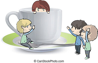Many children around a cup of tea.