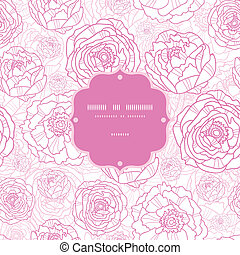 Pink line art flowers frame seamless pattern background -...