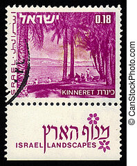lake Kinneret - ISRAEL - CIRCA 1971: A stamp printed in...