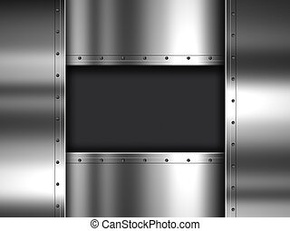 Metal and carbon fibre background - Shiny metal plate and...