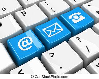 computador, teclado, azul, contato