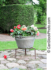 Arrangement in a garden, a metal vat used as a flower pot...