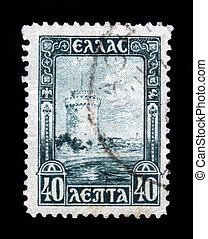 White Tower of Salonika - GREECE - CIRCA 1927: a stamp in...