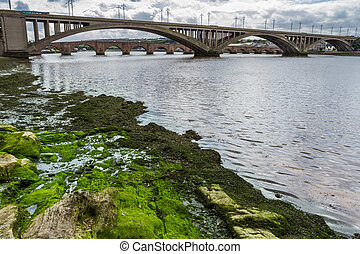 View of the bridges in a small town in Scotland