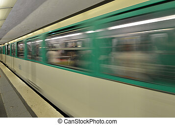 Paris. Moving train on a subway station