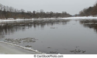river floe water fragment - forest river fragment and ice...