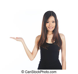 Asian Woman Holding Out Hand