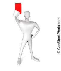 3d referee showing a red card