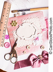 A making postcard - A making scrapbooking postcard with...