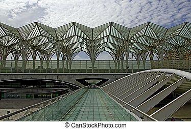 lisbon, railway station - lisbon, the modern railway station...