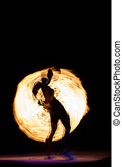 Fire Show at night on Phi Phi Island, - Amazing Fire Show at...