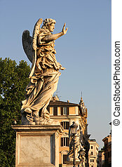 Statues on the Ponte Sant Angelo in Rome, Italy, Europe.