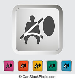 Seat belt. Single icon. Vector illustration.