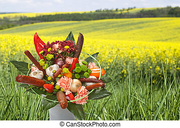 bouquet with sausages