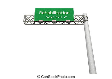 Highway Sign - Rehabilitation - 3D rendered Illustration...