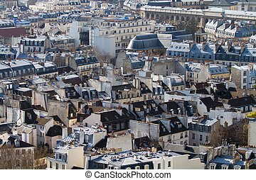 Aerial view of Paris roofs