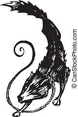 Mythological Fenris Wolf 2 - Woodcut style image of the...
