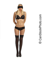 blonde woman blindfolded