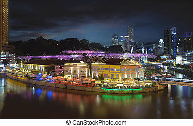 Nightlife at Clarke Quay Singapore Aerial - Nightlife at...