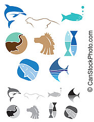 Abstract Animals Icons - This is a set of vector abstract...