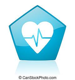 cardiogram blue pentagon web glossy icon
