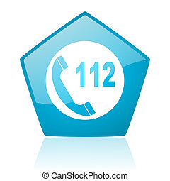 emergency call blue pentagon web glossy icon